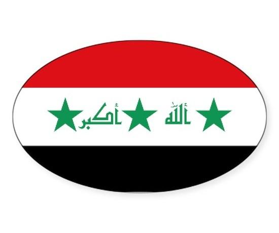 Flag of iraq sticker oval