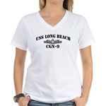 USS LONG BEACH Women's V-Neck T-Shirt