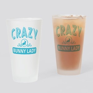 Crazy Bunny Lady Drinking Glass