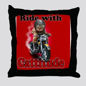 Ride with Cattitude Throw Pillow