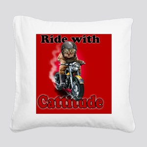 Ride with Cattitude Square Canvas Pillow