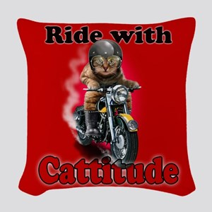Ride with Cattitude Woven Throw Pillow