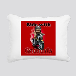 Ride with Cattitude Rectangular Canvas Pillow