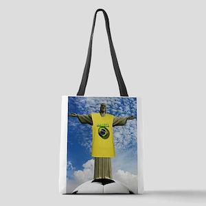 Brazilian Football Polyester Tote Bag