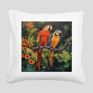Parrots Square Canvas Pillow
