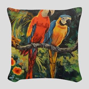 Parrots Woven Throw Pillow