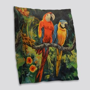 Parrots Burlap Throw Pillow