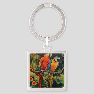Parrots Square Keychain
