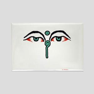 Watchful Eyes of Buddha Rectangle Magnet