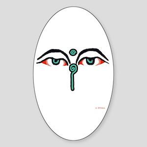 Watchful Eyes of Buddha Oval Sticker