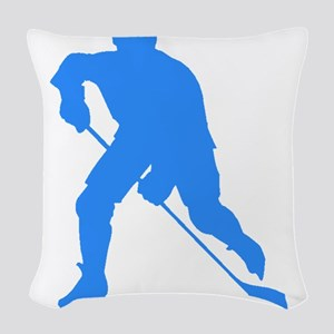 Blue Hockey Player Silhouette Woven Throw Pillow