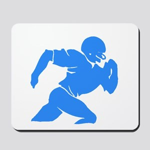 Blue Football Player Silhouette Mousepad