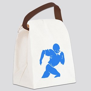 Blue Football Player Silhouette Canvas Lunch Bag