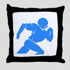 Blue Football Player Silhouette Throw Pillow