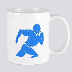 Blue Football Player Silhouette Mugs