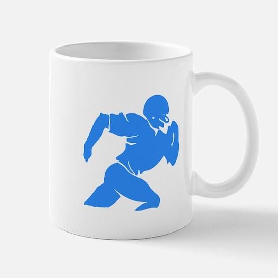 Blue Football Player Silhouette Mugs