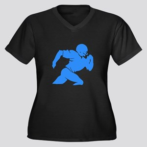 Blue Football Player Silhouette Plus Size T-Shirt