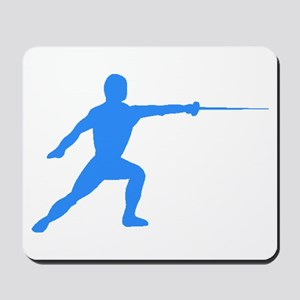 Blue Fencer Silhouette Mousepad