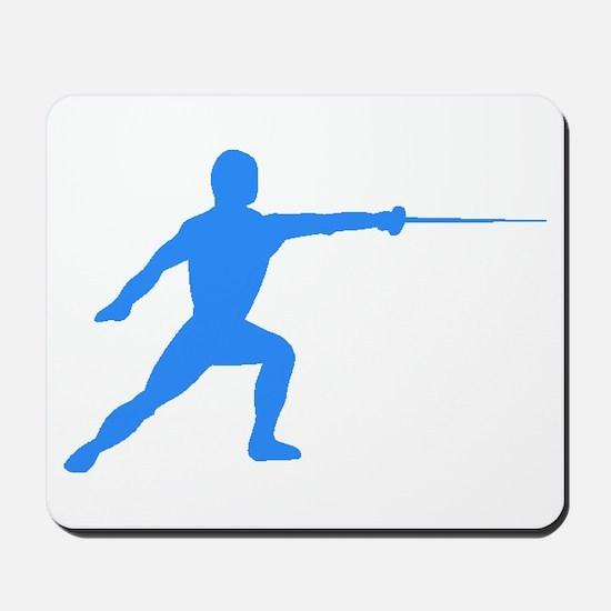 Blue Fencer Silhouette Mousepad