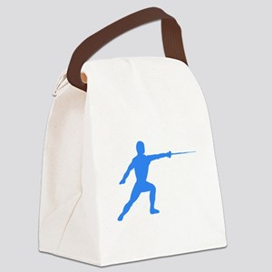 Blue Fencer Silhouette Canvas Lunch Bag