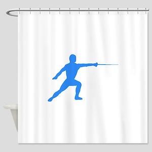 Blue Fencer Silhouette Shower Curtain