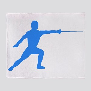 Blue Fencer Silhouette Throw Blanket