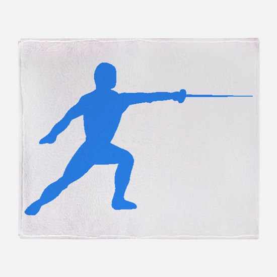 Blue Fencer Silhouette Throw Blanket
