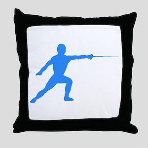 Blue Fencer Silhouette Throw Pillow