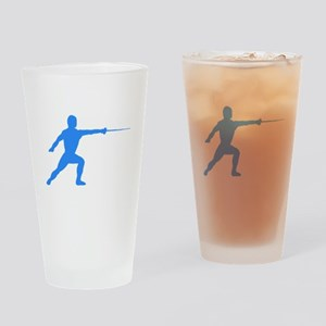 Blue Fencer Silhouette Drinking Glass