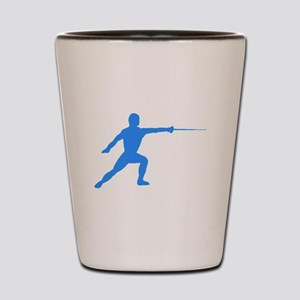 Blue Fencer Silhouette Shot Glass