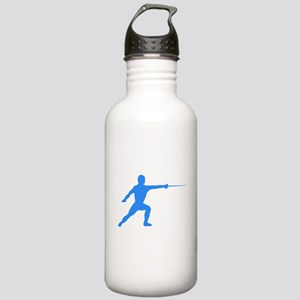Blue Fencer Silhouette Water Bottle
