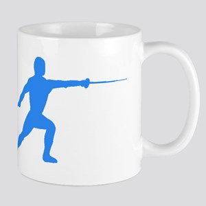 Blue Fencer Silhouette Mugs