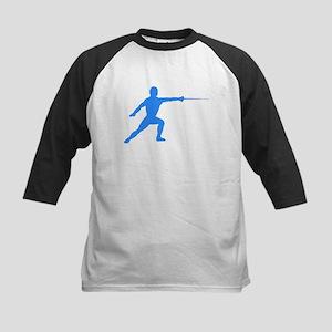 Blue Fencer Silhouette Baseball Jersey