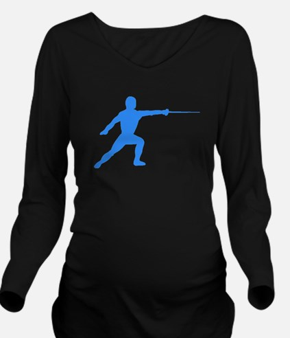 Blue Fencer Silhouette Long Sleeve Maternity T-Shi
