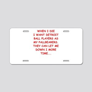 detroit sports joke Aluminum License Plate