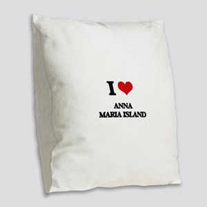 I Love Anna Maria Island Burlap Throw Pillow