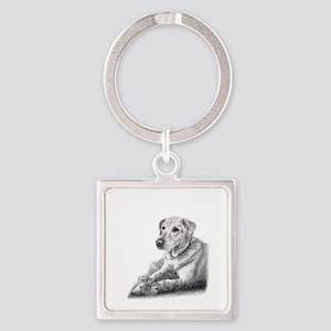Yellow Lab Square Keychain