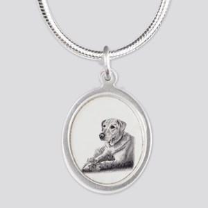 Yellow Lab Silver Oval Necklace