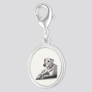 Yellow Lab Silver Oval Charm