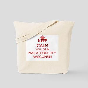 Keep calm you live in Marathon City Wisco Tote Bag