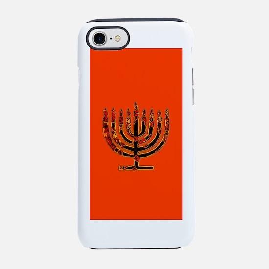 Orange Glowing Menorah Hanukka iPhone 7 Tough Case