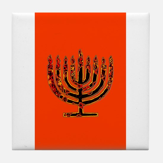 Orange Glowing Menorah Hanukkah 4Deb Tile Coaster
