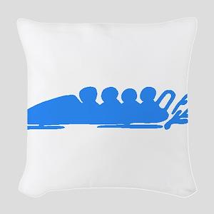 Blue Bobsledding Woven Throw Pillow