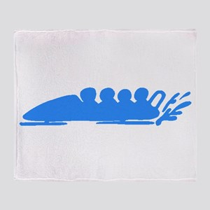Blue Bobsledding Throw Blanket