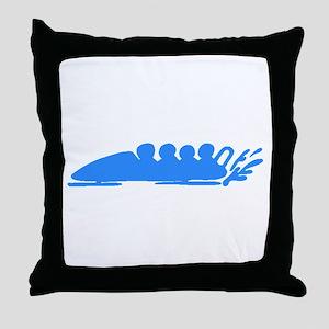 Blue Bobsledding Throw Pillow