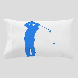 Blue Golfer Silhouette Pillow Case