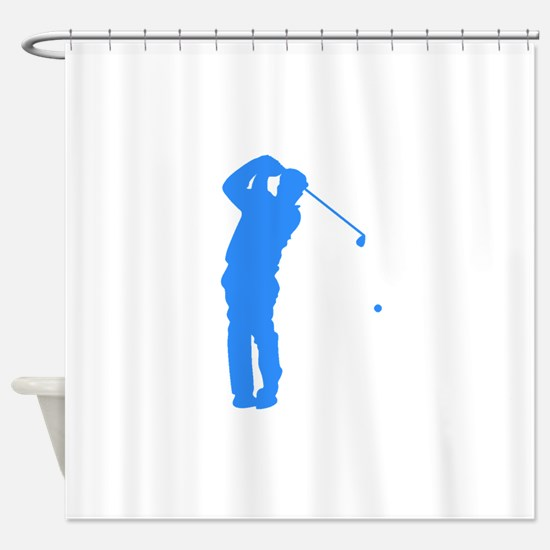 Blue Golfer Silhouette Shower Curtain