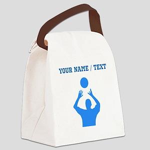 Custom Blue Volleyball Set Canvas Lunch Bag
