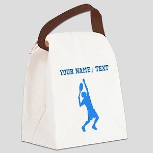 Custom Blue Tennis Player Canvas Lunch Bag