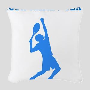 Custom Blue Tennis Player Woven Throw Pillow